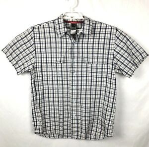 The-North-Face-Large-Multi-Color-Plaid-Button-Front-Shirt-Short-Sleeve