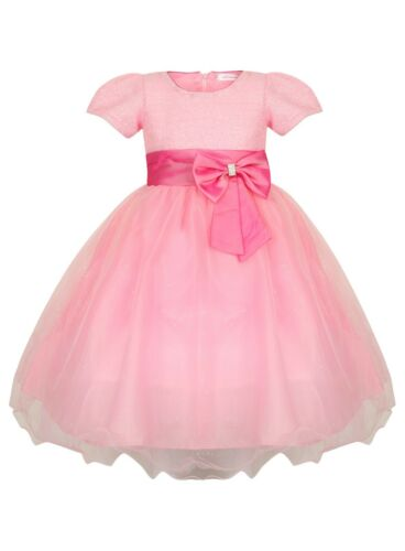 Girls Baby Pink Bow Princess Cinderella Style Party Flower Girl Occasion Dress