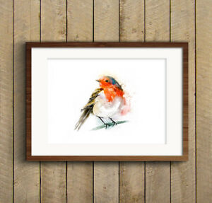 WILL-ELLISTON-Red-Robin-Watercolour-PRINT-of-original-painting-signed-Artwork-HQ