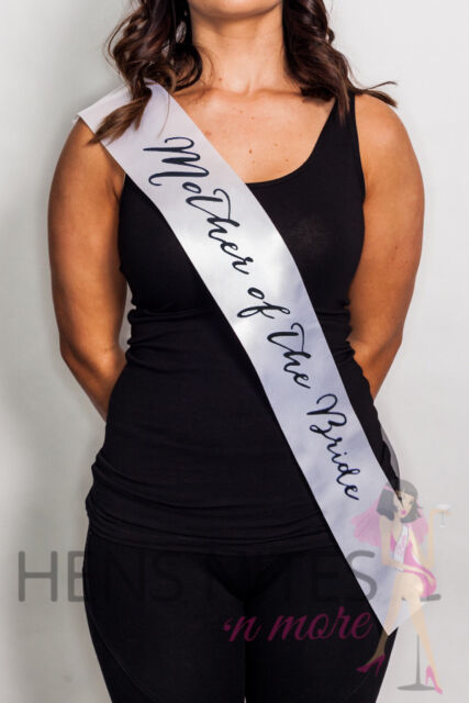 Hens Night Party White Sash with Script Black Writing - MOTHER OF THE BRIDE