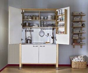 ikea varde complete freestanding mini kitchen unit birch inc sink hob fridge. Black Bedroom Furniture Sets. Home Design Ideas