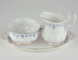 Large-Creamer-w-Sugar-Bowl-amp-Regal-Tray-10-034-Royal-Albert-Memory-Lane-England