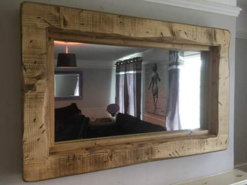 Wooden Mirror Rustic distressed English Oak Reclaimed Landscape Furniture Timber