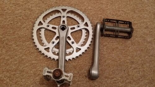 VINTAGE SUGINO FORGED BICYCLE CRANKSET 5240 T, 165 mm WITH PEDALS