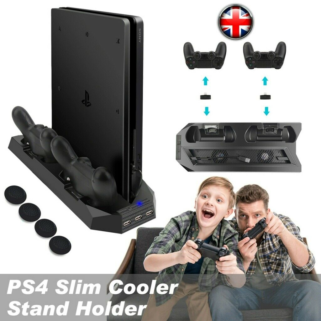 Dual Charging Station For PS4 Slim Accessories Vertical Stand Cooling Fan UK