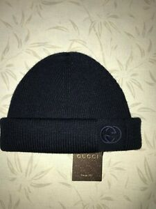 88429080e Details about Gucci Size M - L Beanie Wool hat winter Blue Made in Italy