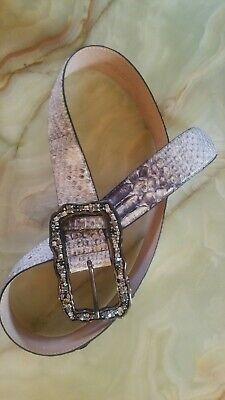 Brown Heart Firecut Rhinestone Crystal Snake Python Croco Leather Belt L ML