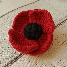 Poppy Brooch / Corsage / Remembrancce hand knitted and crocheted by Lilac Sprig