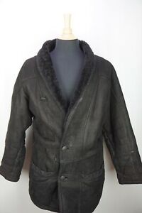 Anonymous-Black-Shawl-Collar-REAL-Shearling-Mens-Jacket-Coat-Sz-52