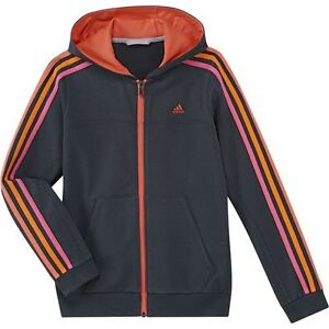 Kids Girls Adidas Black Pinkorangecoral Stripes Pockets Full Zip