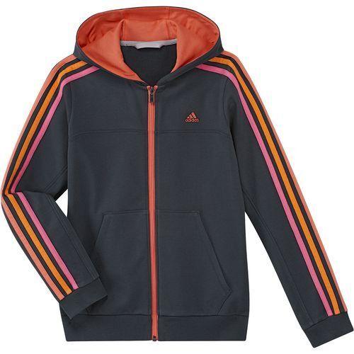 Los Niños Adidas Negro pink//orange//coral Rayas bolsillos con cremallera con capucha f49933