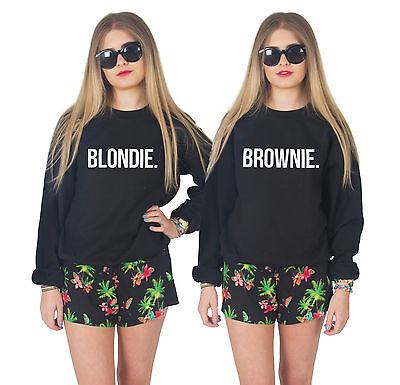 BLONDIE / BROWNIE Jumper Sweater Best Friends Matching Besties BFF's Jumpers