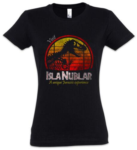 VISIT ISLA NUBLAR WOMAN T-SHIRT Jurassic Fun Dinosaur T Rex Park Tyrannosaurus