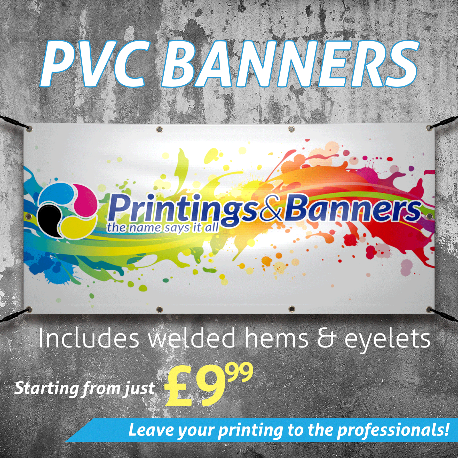 2ft x 2ft PVC Banner Printed Outdoor Vinyl Sign for SHOPS Business Parties 540g