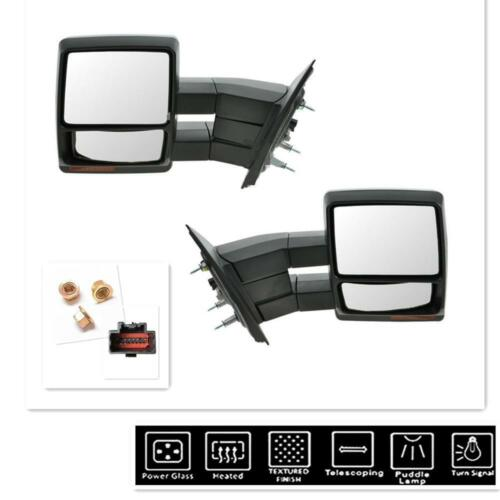 Chrome Towing Power Heated Mirrors Signal puddle For Ford F150 Pickup 2007-2014