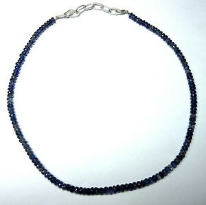 """90.00 CT Iolite Gemstone Rondelle Faceted Beads 19.5"""" NECKLACE 4-5MM S68"""