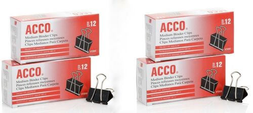 4 Boxes = 48 Total 72050 Acco Brands Binder Clips 12 Per Box Medium