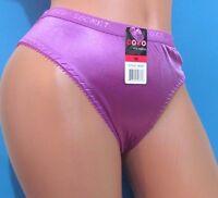 Vtg Pink Blue Purple Ivory Nylon Satin High Cut Wetlook Sissy Panties S M L Xl