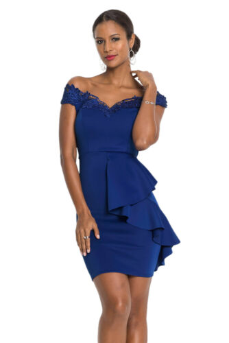 Womens Party Off Shoulder Ruffles Mini Bodycon Dress Cocktail Embroidered Ladies