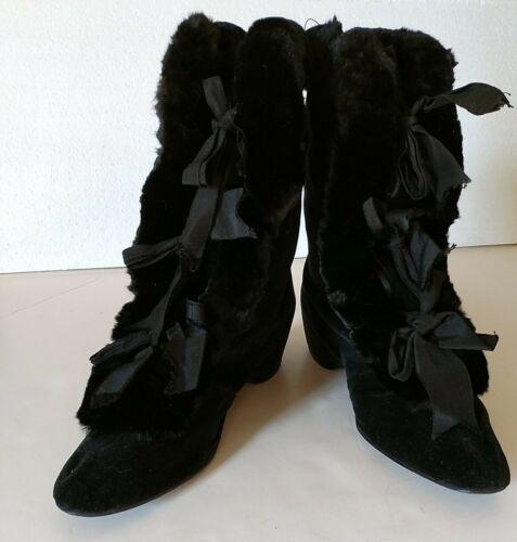 Antique victorian/edwardian fur trimmed boots