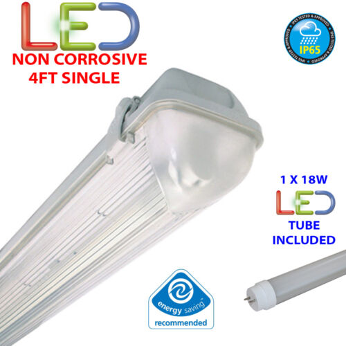 NON CORROSIVE WEATHERPROOF FLUORESCENT LIGHT FITTING IP65 4FT SINGLE LED 18W