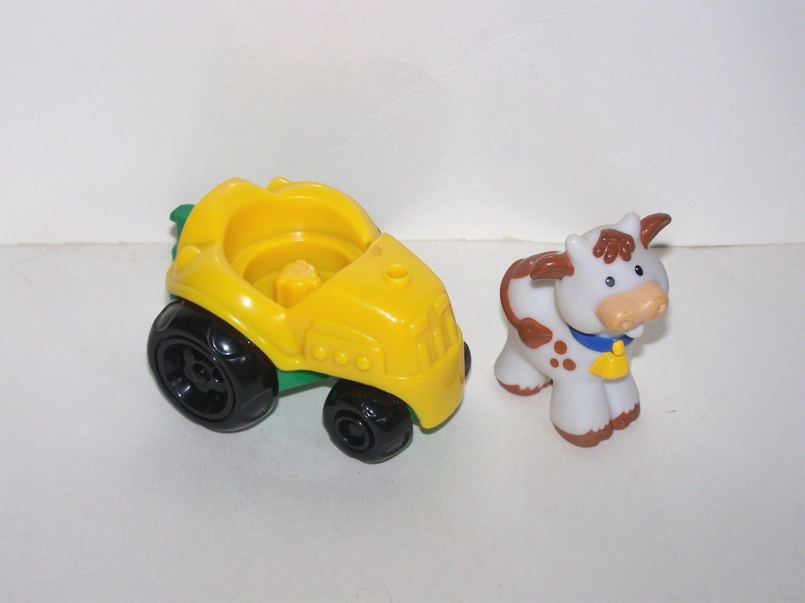 Little People tractor 2002 yellow & green Cow white and brown mattel 2002