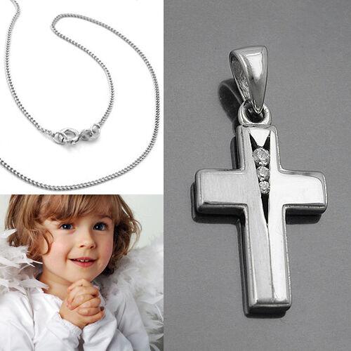 Zirkonia Kinder Kreuz Anhänger zur Taufe Kommunion Firmung mit Kette Silber 925
