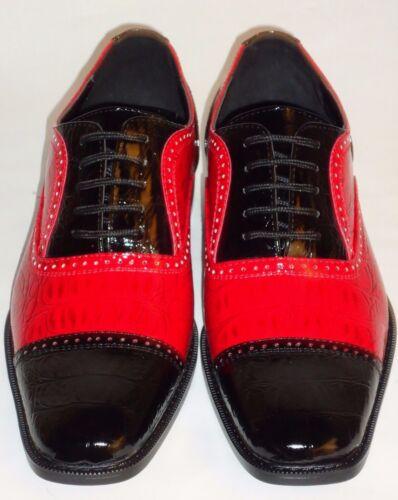 Mens Cool Retro Fashion Black /& Red Faux Croco Dress Shoes Roberto Chillini 6600