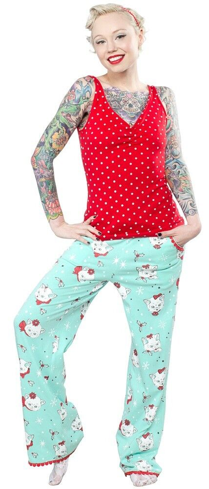 130655 Mint Green & Red Christmas Kitties Lounge Set Sourpuss Pajamas L LARGE