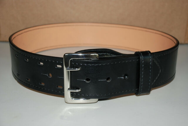 NEW Galls Leather G-4145 Black Sam Brown Duty Belt w/Nickel Buckle Size 32