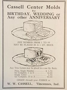 1927 AD(M3)~W.W. CASSELL CO. VINCENNES, IND. CASSELL ICE CREAM CENTER MOLDS