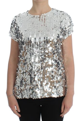 NEW $980 DOLCE /& GABBANA Blouse T-shirt Top Silver Sequined Crewneck IT42// US8//M