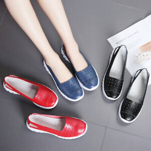 Ladies-Womens-Casual-Real-Leather-Hollowed-Loafers-Comfy-Flats-Pumps-Shoes-US-10
