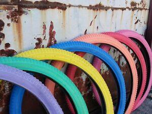 """1 pair bicycle tire 26 26x2.125 balloon Classic Beach Cruiser Round 2.125/"""" Blue"""