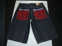 Coogi Mens Black Denim Jean Shorts With Red Tree & Coogi Design On Back Pockets