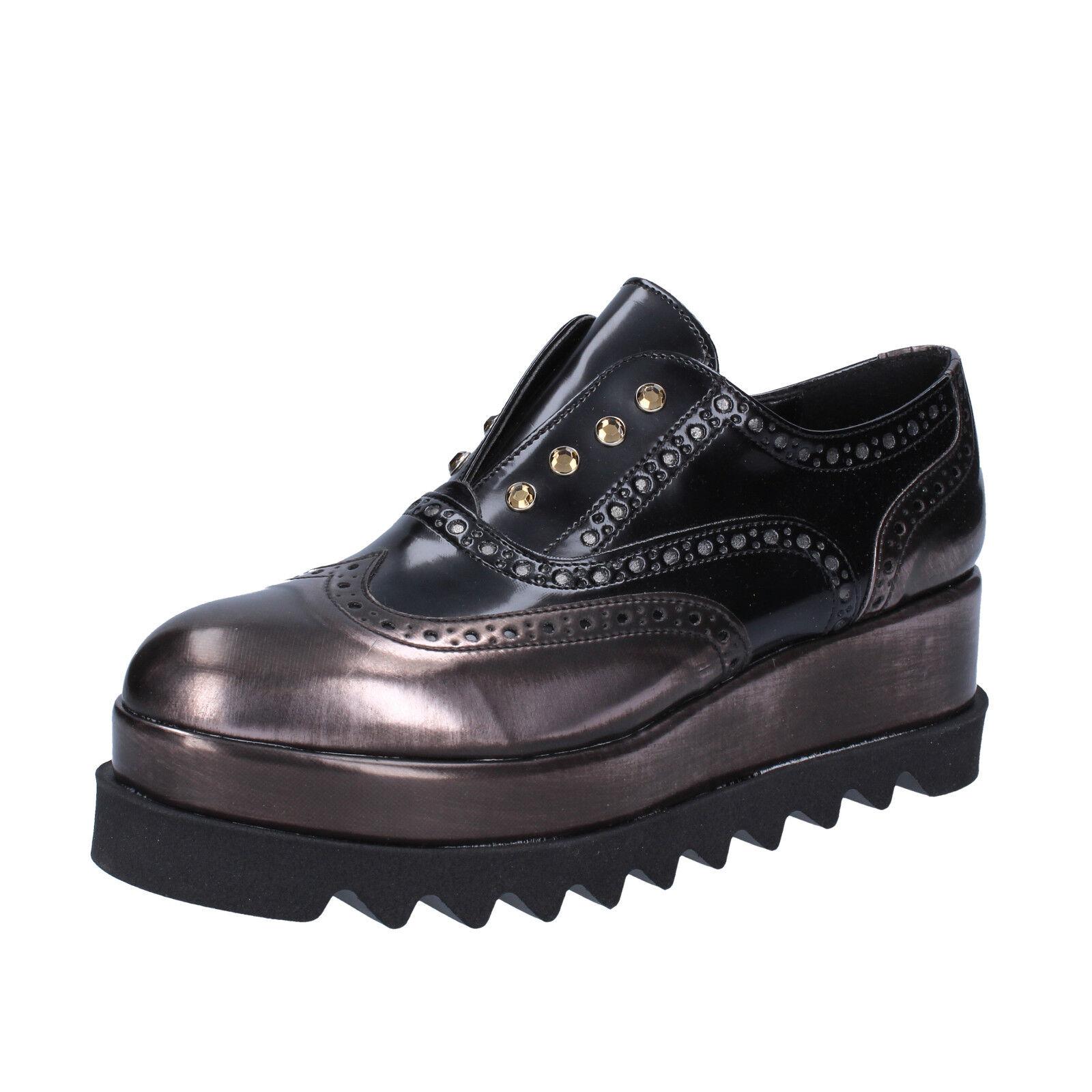 Scarpe 38 da Donna Olga RUBINI 38 Scarpe UE elegante nero in pelle bronzo bx785-38 16290b