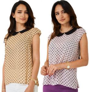 P39-Women-039-s-Square-Polka-Dot-Printed-Chiffon-Short-Sleeve-Blouse-Top-10-20