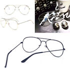 Clear Lens Aviator Nerd Glasses Fashion Pilot Metal Frame Gold Silver Sunglasses