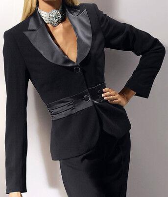 Festliches Smoking Kostüm schwarz Gr.48  GLÖÖCKLER Jacke Rock elegant GLAMOUR