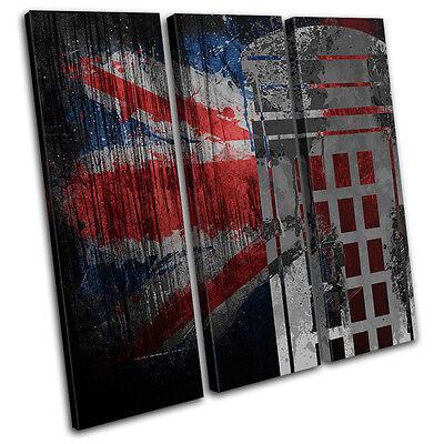 Union Jack Grunge Post Box Urban TREBLE CANVAS WALL ART Picture Print VA