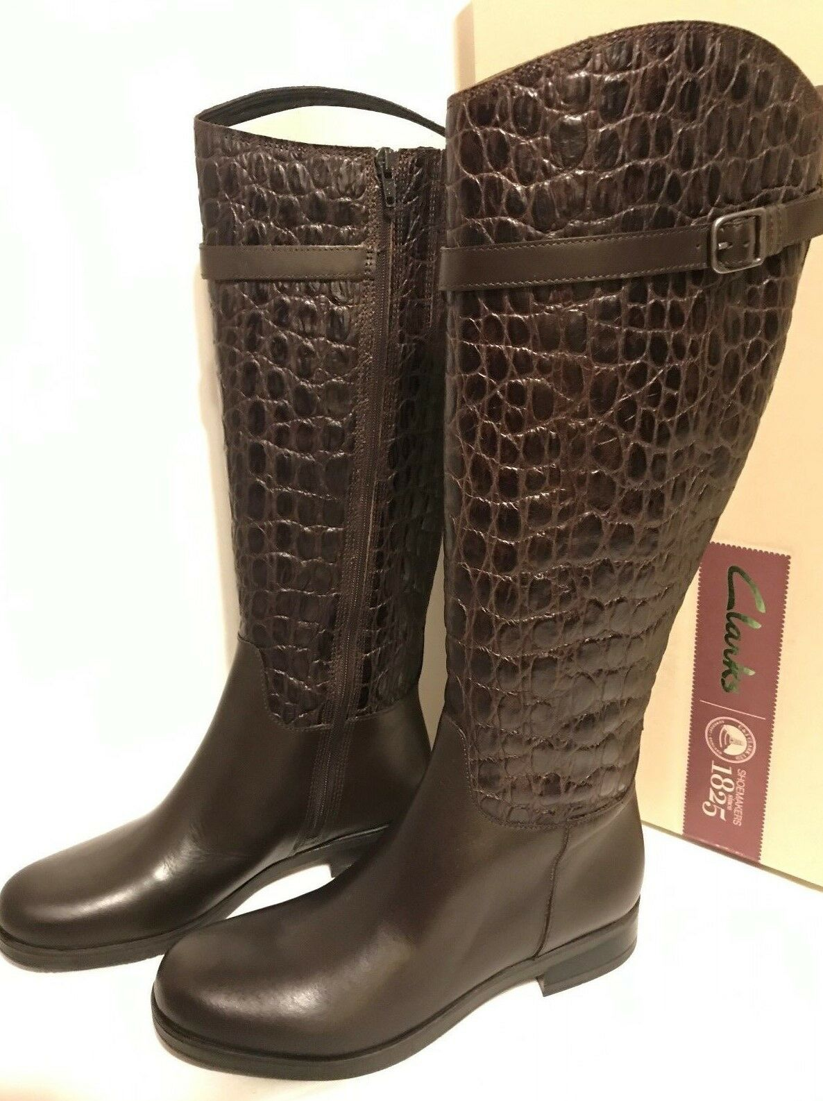 Clarks Hopedale Wish Brown Leather Crocodile Embossed Riding Knee Boots ()