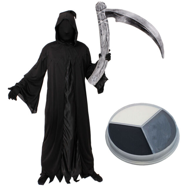 Mens Crypt Keeper Costume Grim Reaper Skeleton Fancy Dress Outfit Halloween