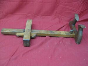 Rare-Unusual-Antique-Primitive-Hand-Crafted-Wood-Panel-Veneer-Scribe
