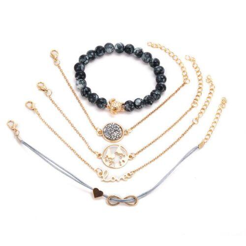 5Pcs//Set Femmes Amour Coeur Tortue de Mer Tissage corde perle bracelet bijoux cadeau nouveau