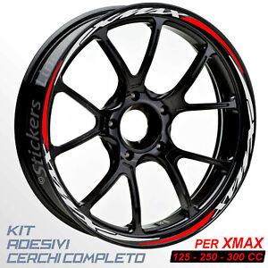 Adesivi-cerchi-ruote-XMAX-125-250-300-cc-set-profili-GRIGIO-ROSSO-R-5t
