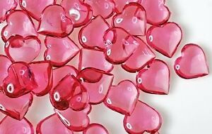 Acrylic Pink Heart Shape Gems Vase Filler Confetti Table Scatter Valentine Decor
