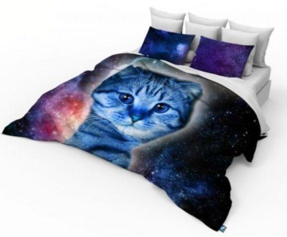 3D Double Größe Galaxy Cat Photo Print  Design Duvet cover Bedding Set Kitten