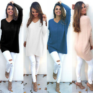 Womens-Casual-Knitted-Pullover-Sweater-Long-Tops-Long-Sleeve-Jumper-Mini-Dresses