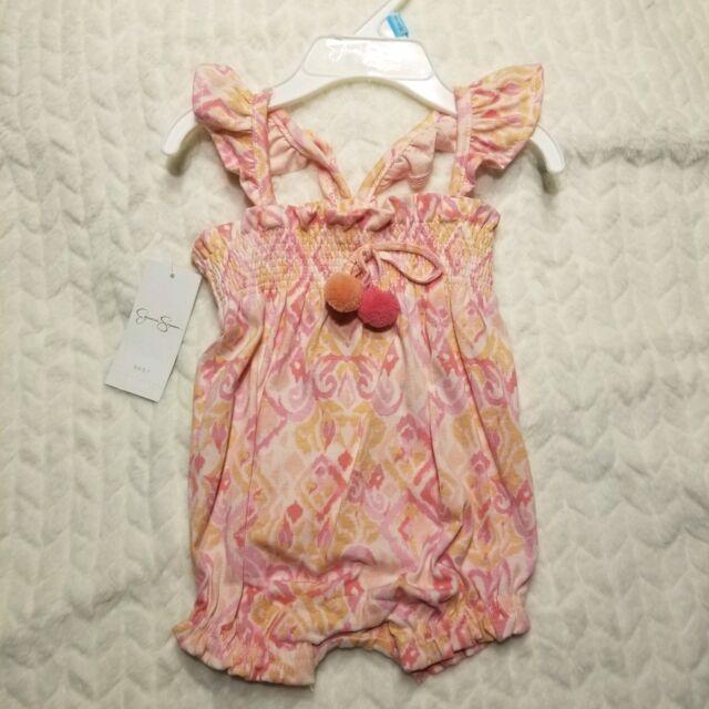 Baby Girl Footie 3//6 mon Jessica Simpson White Peach Grey Sun Embroider