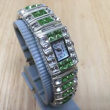 Geneva Lady Sterling Tone Large Crystals Analog Quartz Watch Hours~New Battery